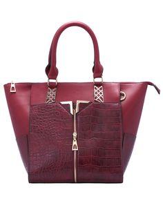 Burgundy Zipper Metallic Embellished PU Bag 26.44