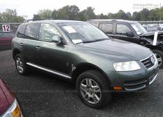 Salvage Green #VolkswagenTouareg For Sale at Bergen, NY. Join Live #Auction.
