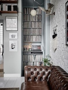 eclectic living room with a cool record collection