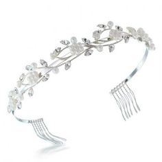 Bling Jewelry White Gold Plated Crystal Pearl Flower Leaf Bridal Tiara Headband