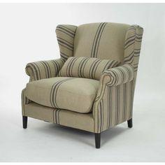 Napoleon Half Wingback Chair - CF076 L002 A033 Blue Stripe