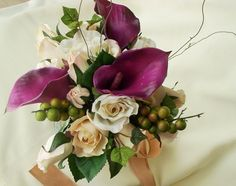 Vineyard Weddings Real Touch Callas Purple Bridal Bouquets