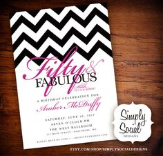 50th Birthday Party Invitation with Chevron Surprise.