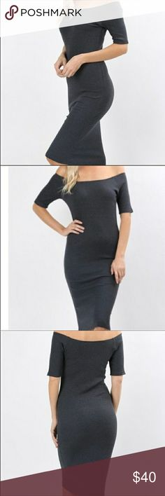 Charcoal grey off the shoulder dress new with tags Charcoal grey off the shoulder midi dress Classic Woman Dresses Midi