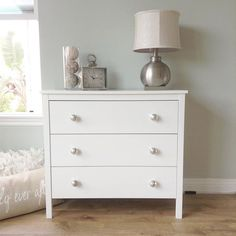 Putting my room back together: I chose two of the $99. #IKEA #koppang dressers for my #nightstands. (#bedsidetables) I changed the knobs out for these silver glass #cynthiarowley pulls from #homegoods for $12.99 (6pk) to fancy them up a bit. I like it  #harmonicsflooring  #camdenoak  #tjmaxx #homegoods #interiordesign #home #happy #roommakeover #littlebylittle #ikeahacked #costco #beachchic #cottagestyle #cottageliving #coastalliving #seasalt