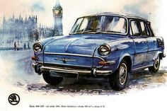 Skoda 1000 MB 1964 Car Tattoos, Drawing Sketches, Drawings, Car Illustration, Car Brands, Motor Car, Cars And Motorcycles, Techno, Vintage Cars