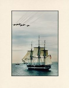 USS Constitution as she sailed for the first time in over a century.  Navy Blue Angels fly by.   1997  - photo available for purchase.  $ 11-75 depending on size.