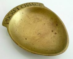 Brass Dish Pocket Change Tray Catchall Bowl by TimeEnoughAtLast
