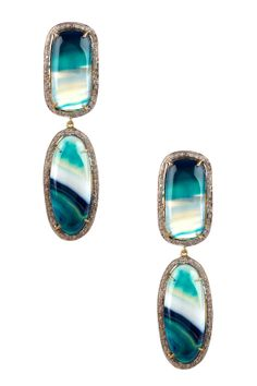 Agate Cabochon Diamond Double Drop Earrings - 1.37 ctw