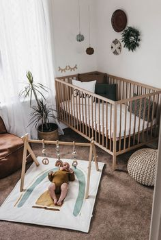 'Rainbow Play Gym (Sage) 'Rainbow Play Gym (Sage) – Lilah & Co. Nursery Decor Boy, Nursery Neutral, Baby Room Decor, Nursery Themes, Nursery Room, Baby Boy Rooms, Baby Bedroom, Kids Bedroom, Wood Crib