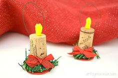 Easy Christmas Candle Ornaments made from wine corks...so cute! Diy Christmas Angel Ornaments, Christmas Candle, How To Make Ornaments, Christmas Angels, Christmas Crafts, Christmas Decorations, Christmas Ideas, Xmas, Wine Cork Ornaments