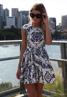 Navy/White Paisley Print Dress Cap Sleeve
