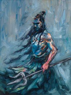 Shiva, The Wanderer. Original Work by Indian Artist: Oil on Canvas Rudra Shiva, Shiva Shakti, Shiva Art, Hindu Art, Lord Shiva Sketch, Lord Shiva Hd Wallpaper, Lord Shiva Painting, Lord Murugan, Lord Mahadev