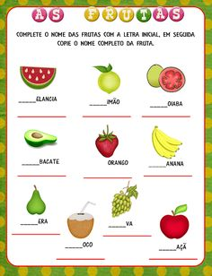 Notebook da Profª: Frutas