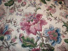 Vtg Lined Barkcloth Curtain Panel Tropical Pink Floral Cutter Sewing Shabby | eBay