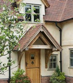 Border Oak - Stable style door with oak porch canopy. Cottage Front Doors, Oak Front Door, Front Door Porch, Cottage Door, House Front Door, Cottage Exterior, House With Porch, Porch Canopy, Door Canopy