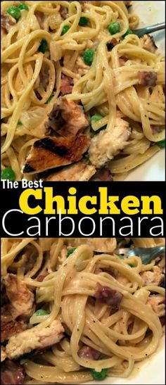 This Chicken Carbonara will put ANY restaurant's recipe to SHAME! - This Chicken Carbonara will put ANY restaurant's recipe to SHAME! Possibly the best pasta dish on - Best Pasta Dishes, Italian Pasta Dishes, Italian Foods, Pasta Dishes With Chicken, Easy Italian Recipes, Italian Chicken Recipes, Simple Recipes, Quick Weeknight Meals, Easy Meals