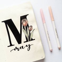 Bullet journal monthly cover page, May cover page, hand lettering, tulip drawing, flower drawing. | @juian.k