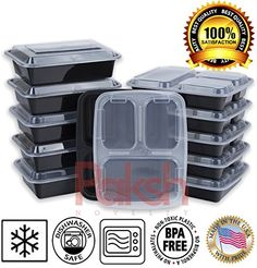 Paksh Novelty Lunch Boxes Combination Set of 10, 5 Bento Box Lunch Containers with Compartments for Portion Control & 5 Undivided Plastic Food Containers with Lids, Leak Proof