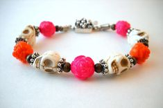 Ring Around the Rosey skull and rose bracelet by HerBeautyFound on Etsy, Dia de los muertos jewelry, day of the dead jewelry, fun summer bracelet, jewelry gifts under 20