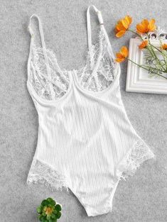 Lace Panel Sheer Cami Teddy - White - White M - zaful Lingerie Outfits, Lingerie Set, Fashion Tights, Women's Fashion Dresses, Cute Underwear, Ladies Underwear, Pinterest Fashion, Lingerie Collection, Cool Outfits