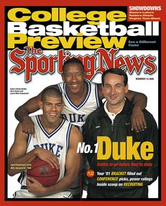 Shane Battier, Chris Duhon and Coach K - (Sporting News - November 13, 2000)