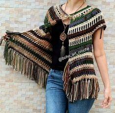 no pattern, just pic Crochet Poncho Patterns, Crochet Jacket, Crochet Cardigan, Crochet Shawl, Knit Crochet, Diy Crafts Crochet, Boho Kimono, Diy Clothing, Handmade Clothes