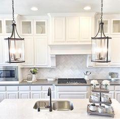 White Kitchen With A Mix Of Grey And Counters Loving The Herringbone Backsplash Island Pendant Lightingfarmhouse