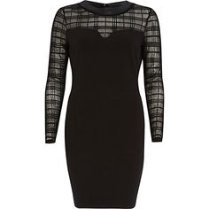 Black check mesh insert bodycon dress - bodycon dresses - dresses - women
