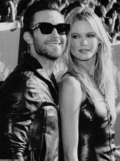 Adam Levine and wife Behati Prinsloo at the MTV VMAs 2O14.