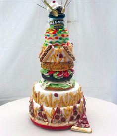 fast food cake.  leo's dream cake!