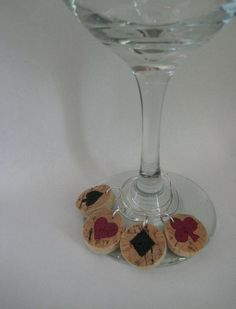 Wine Cork Wine Glass Charms Handpainted Waking up by kindersquare, $5.00