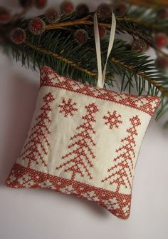 Cross Stitched Folk Art Ornament  trees by CherieWheeler on Etsy, $9.00
