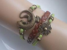 Lizard Bracelet Bronze lizard Flower bracelet and by IriscaJewelry, $0.20