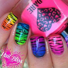 @NailBliss - gradient rainbow zebra print mani