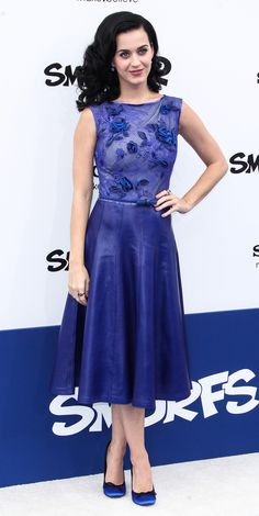 "Katy Perry attended the premiere of Columbia Pictures' ""Smurfs 2"" at Regency Village Theatre in Los Angeles, Calif., on July 28."