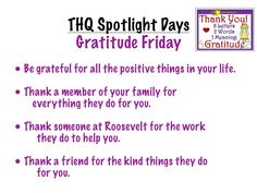 """This visual introduces students to """"Gratitude Friday,"""" the fifth of five """"Spotlight"""" days that I incorporated into our weekly schedule to give special attention to important ideas and priorities. 2 Letter Words, Letters, Thanking Someone, Teaching Career, Weekly Schedule, Social Skills, Priorities, Gratitude, Spotlight"""