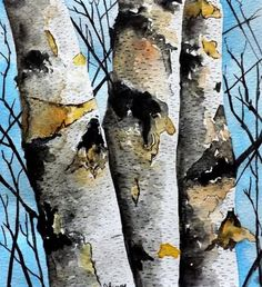 Original Watercolor Painting- Birch Tree Landscape - Original Fine Art for Sale - © James Lagasse