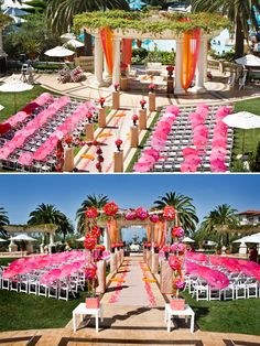 Pink parasols line the tropical hawaiian wedding aisle - love the palm trees as the backdrop!