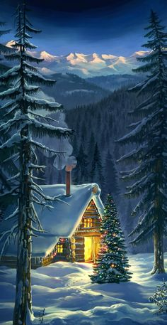 Christmas Scenes, Christmas Art, Vintage Christmas, Painting Snow, Winter Painting, Christmas Landscape, Christmas Bedding, Winter Cabin, Up House