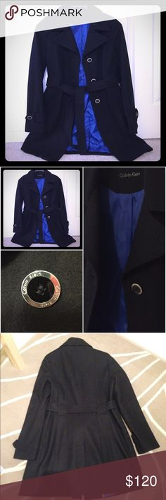 Gorgeous Calvin Klein Coat - Ready for Fall  Gorgeous coat with a beautiful blue lining! I've worn this coat only once since it's too big for me :( no flaws! Comes with the belt! It has been dry cleaned for your convenience! Calvin Klein Jackets & Coats Pea Coats