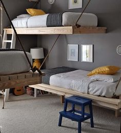 Contemporary Boys Room for three boys'. Save space with hanging beds. Wall color is Creek Bend by Behr