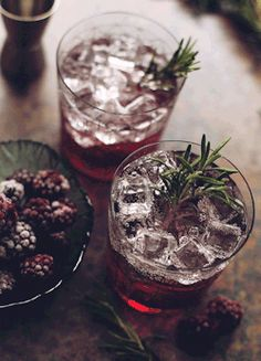 "butteryplanet: ""• gin • soda • sweet berry syrup • blackberries • rosemary """