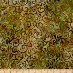 Artisan Batiks Regal Scroll Bronze from @fabricdotcom  Designed by Lunn Studios for Robert Kaufman Fabrics, this Indonesian batik fabric has beautiful colorations and is perfect for quilts, craft projects, home decor accents and apparel. Colors include shades of ochre, yellow, olive and gold.