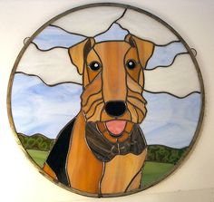 Custom Made Stained Glass Pet Portrait Of Airedale Dog