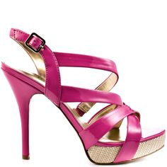 Sass it up in the Dabrial!  This Guess sandal brings you a bright pink patent upper to get in touch with your girly side.  A 1 inch raffia platform and 5 inch stiletto heel wrap up this wonderful style.