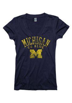Michigan Womens Navy Blue Ageless V-Neck