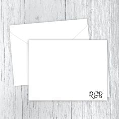 Simply 3 Initials Men's Personalized Note Cards Web Address, Small Letters, Personalized Note Cards, White Envelopes, Texts, Card Stock, I Shop, Initials, Stationery