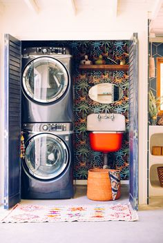 Our Laundry 'Room' Overhaul with Home Depot (Jungalow by Justina Blakeney) Laundry Decor, Laundry Room Design, Laundry Closet, Laundry In Bathroom, Laundry Rooms, Mud Rooms, Laundry Drying, Laundry Area, Small Laundry