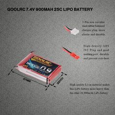 GoolRC 2S 7.4V 900mAh 25C Li-Po Battery with JST Plug for WLtoys 912 RC Helicopter Quadcopter Boat Car